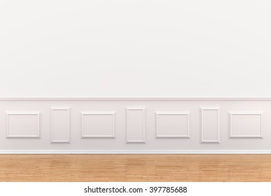 3d render of white interior with panels on wall. 3D illustration