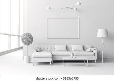 3d render of white interior room setup