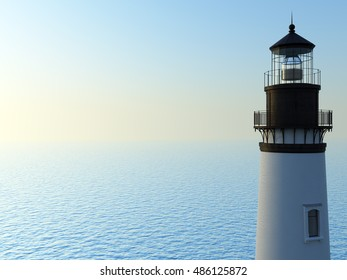 3d render white lighthouse with a blue sky in a sunny day