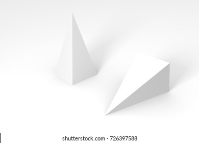 3d render of white pyramid on a white background