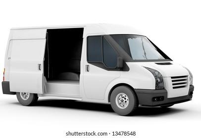 3D render of a white van