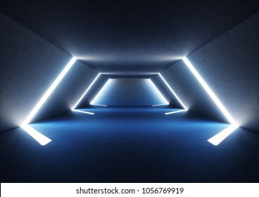 3d render of wide abstract illuminated empty corridor interior made of gray concrete, glowing blue lines with shadow, daylight tunnel with no exit, white light rays, minimalistic space