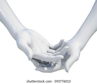 3d Render: Woman Hand Holding Something Isolated on a White Background