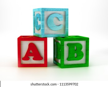 3D render of wooden blocks with ABC letters on white background