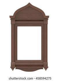 3d render of a wooden frame for the icon on a white background
