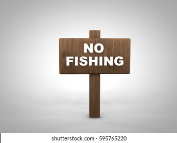 3D render of a wooden signpost with a No Fishing message