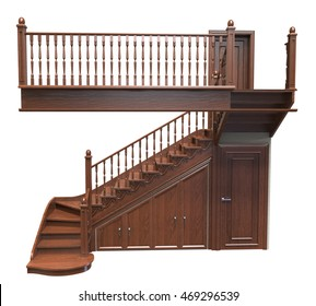 3d Render Of Wooden Staircase Decorated With Carvings On A White Background