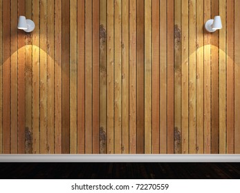 3d render of wooden wall with two lights