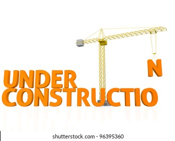 3D render of the words under construction being assembled by a tower crane.