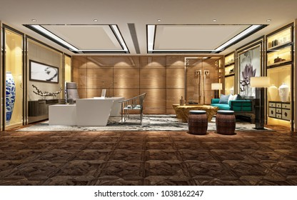 3d render of working room with modern design