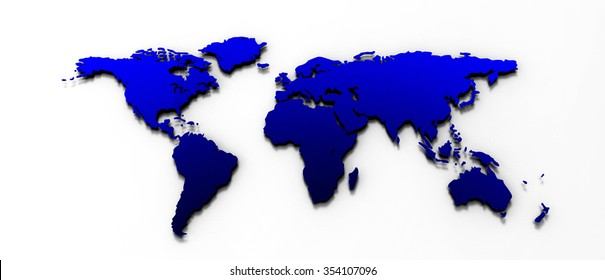 3D render world map in blue Color  World Map