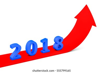3d render year 2018 success concept with a growing red arrow on a white background.