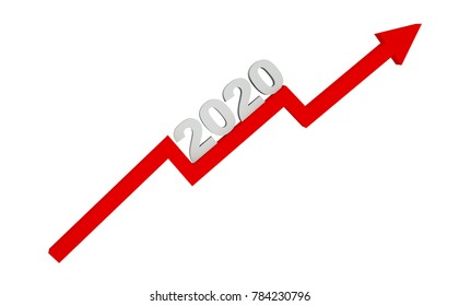 3d render year 2020 success concept with a growing red arrow on a white background.
