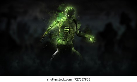 3d render of a zombie necromancer character