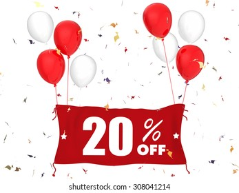 3d rendered 20%off banner on white background