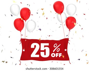 3d rendered 25%off banner on white background