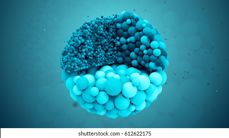 3d rendered abstract colored and segmented molecule background. Three zoned small sphere based geometry shape. Medicine concept. Small sphere elements forms  one big sliced molecule