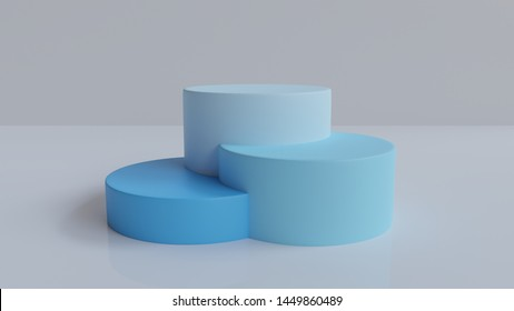 3d rendered abstract podium background   - Abstract, 3d rendered white background with blue podium