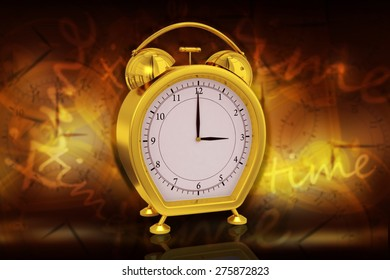 3d rendered alarm clock isolated on color background