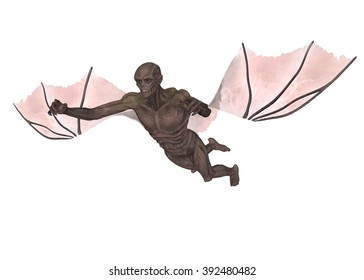 3D rendered ancient vampire on white background isolated