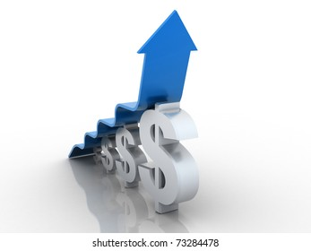 3D rendered arrow diagram moving up over dollar graph bar