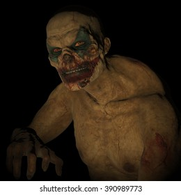 3D rendered bloody undead clown on black background isolated