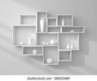 3d rendered bookshelves with decorative ceramics.