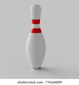 3d rendered Bowling Pin on a seamless reflective light grey surface for easy compositing.
