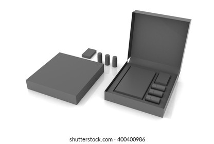 3D rendered box package on white background
