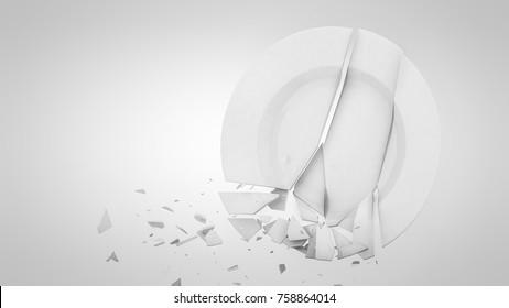 3d rendered broken falling ceramic plate