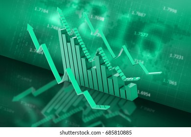 3d rendered Business graph in color background