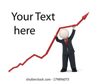 3d rendered business man in black suit, holding a financial chart arrow high up, representing the success in business