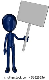3D rendered cartoon Michael figure with sign in poses