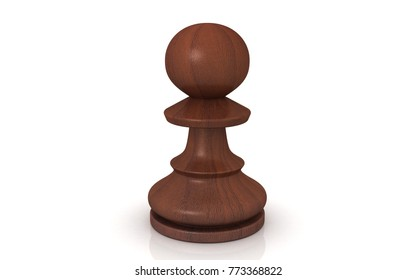 3D rendered Chess pawn on white background