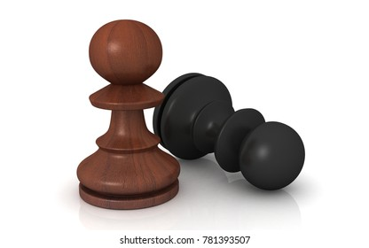 3d rendered chess piece concept