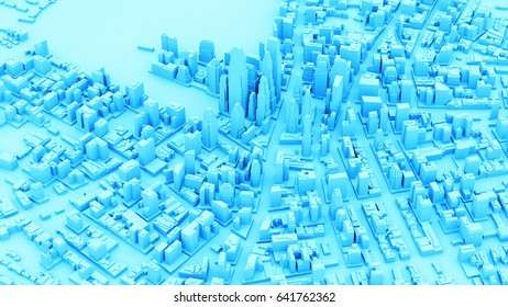 3d rendered city view with detailed cityscape background with shadows and bright sun.