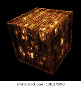 3d rendered complex structured surface.  Displacement semi transparent surface with glow elements below it.