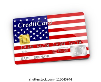 3D rendered Credit Card covered with American flag.