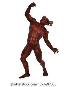 3D rendered devil from the hell on white background isolated