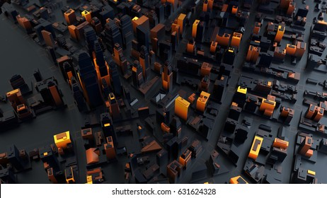 3d rendered digital abstract city. Scanning city for hackers attack concept. City building forms with reflections, shadows and random elements. High quality detailed render.