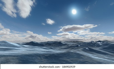 3D rendered enviroment scene of ocean at sunset with sun on the sky