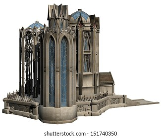 3D rendered fantasy castle on white background isolated