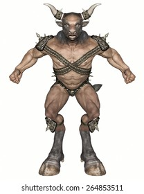 3D rendered fantasy minotaur creature on white background isolated