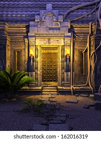 3D rendered fantasy temple gate in the night