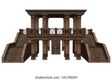 3D rendered fantasy temple on white background isolated