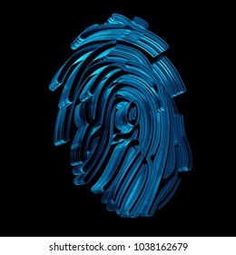 3d rendered fingerprint pattern made of glass. Crypto and security concept. Finger identification symbol.