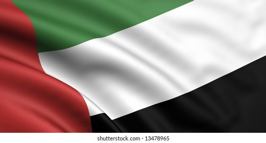 3d rendered flag of united arab emirates