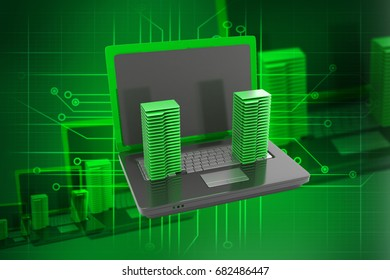 3d rendered folders and laptop on color background