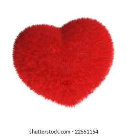 3D rendered furry red heart