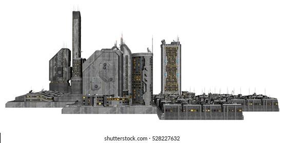 3D Rendered Futuristic Building Block